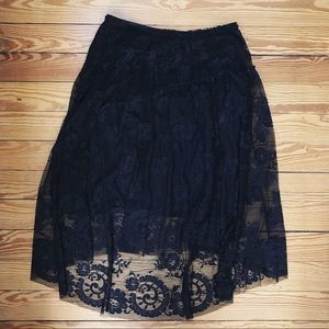 NWT Max Studio Black Lace Midi Skirt Size M